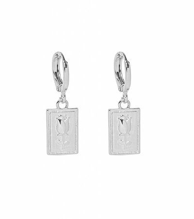 SILVER SQUARE ROSE EARRINGS