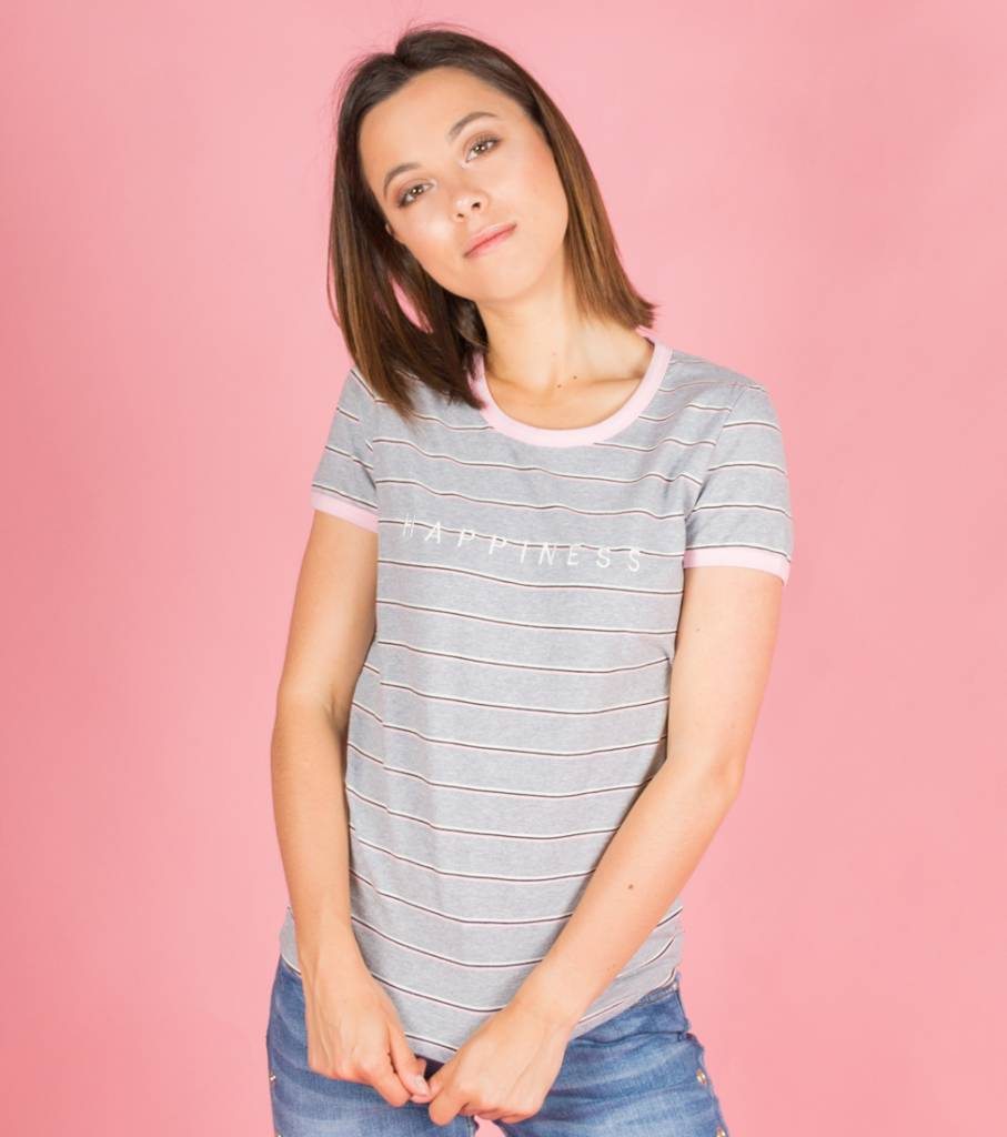 HAPPINESS STRIPED TSHIRT