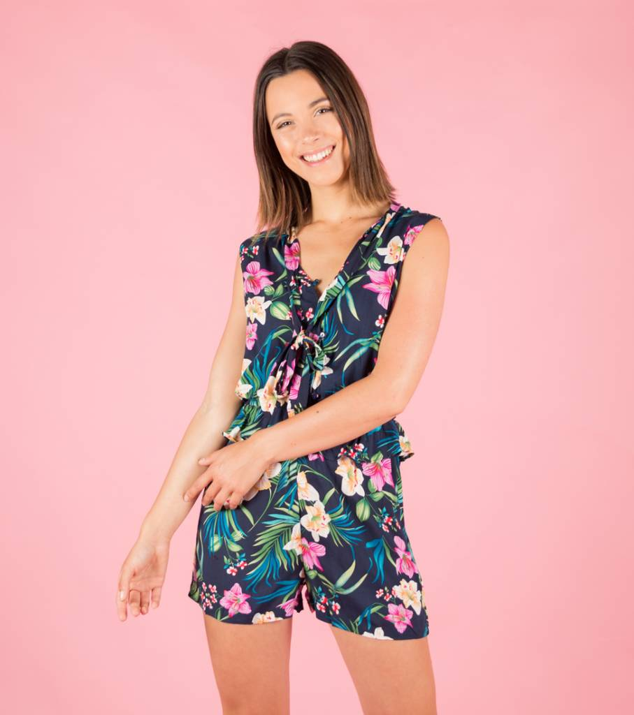 TROPICAL VIBES BLUE PLAYSUIT
