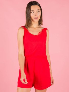 CHERRY LACE RED PLAYSUIT