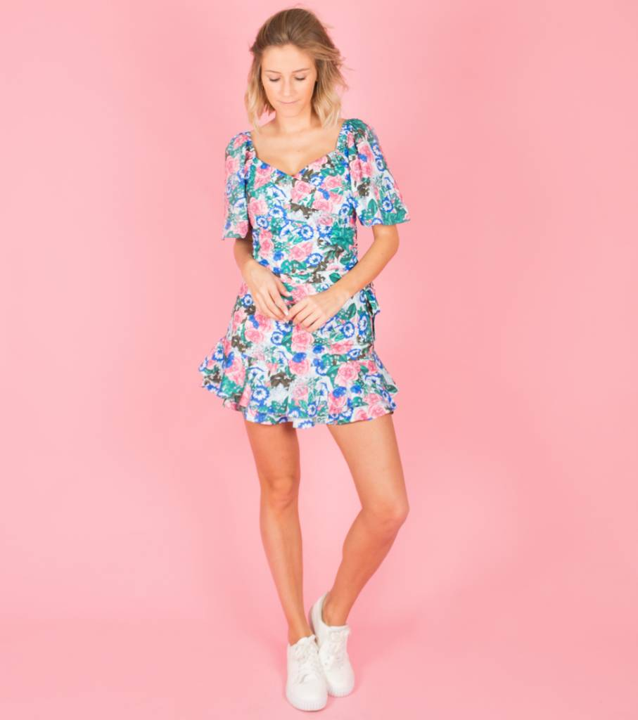 BRIGHT TROPICAL BLUE BLOOM BLOUSE