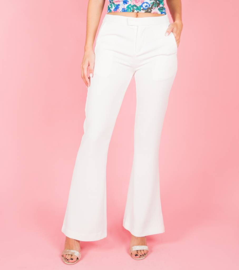 MEET ME WHITE FLARED TROUSERS