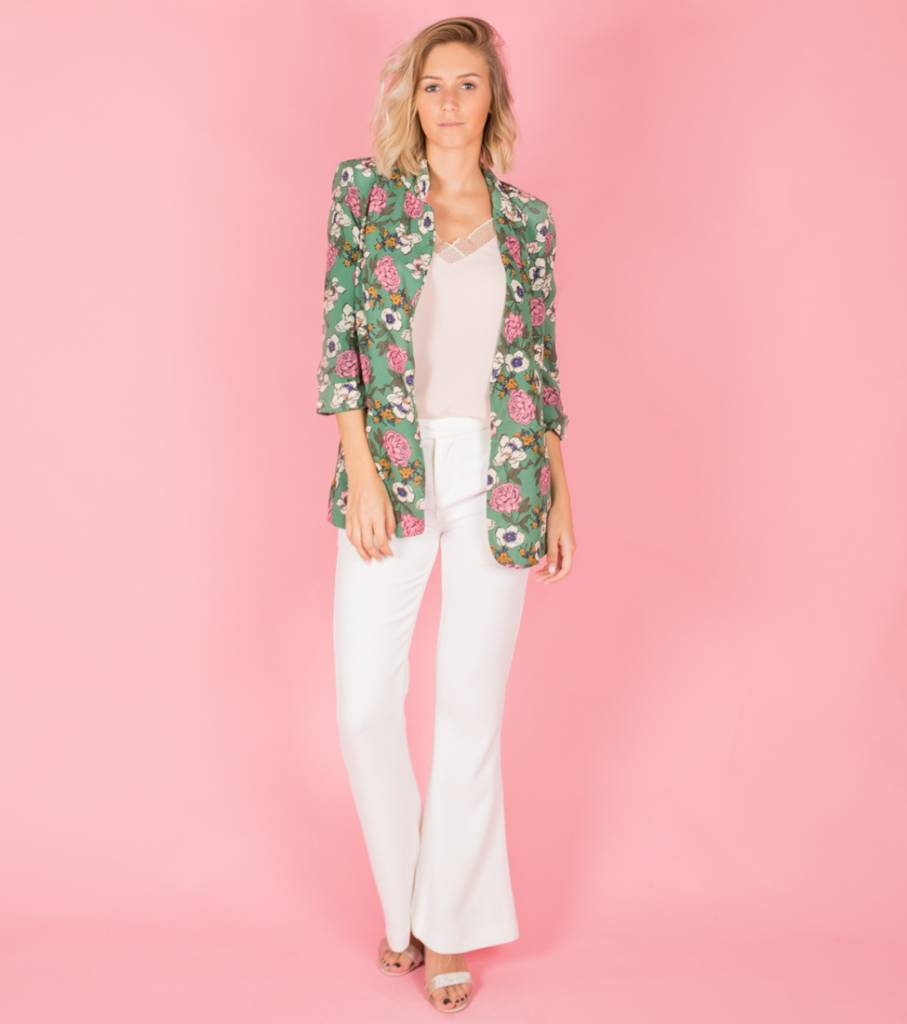 GARDEN OF FLOWERS GREEN BLAZER