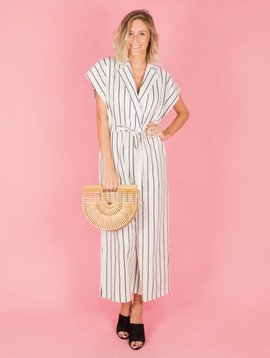 CHALKLINE STRIPED WHITE JUMPSUIT