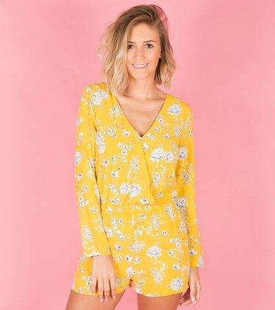 YELLOW DAISY FLOWER PLAYSUIT