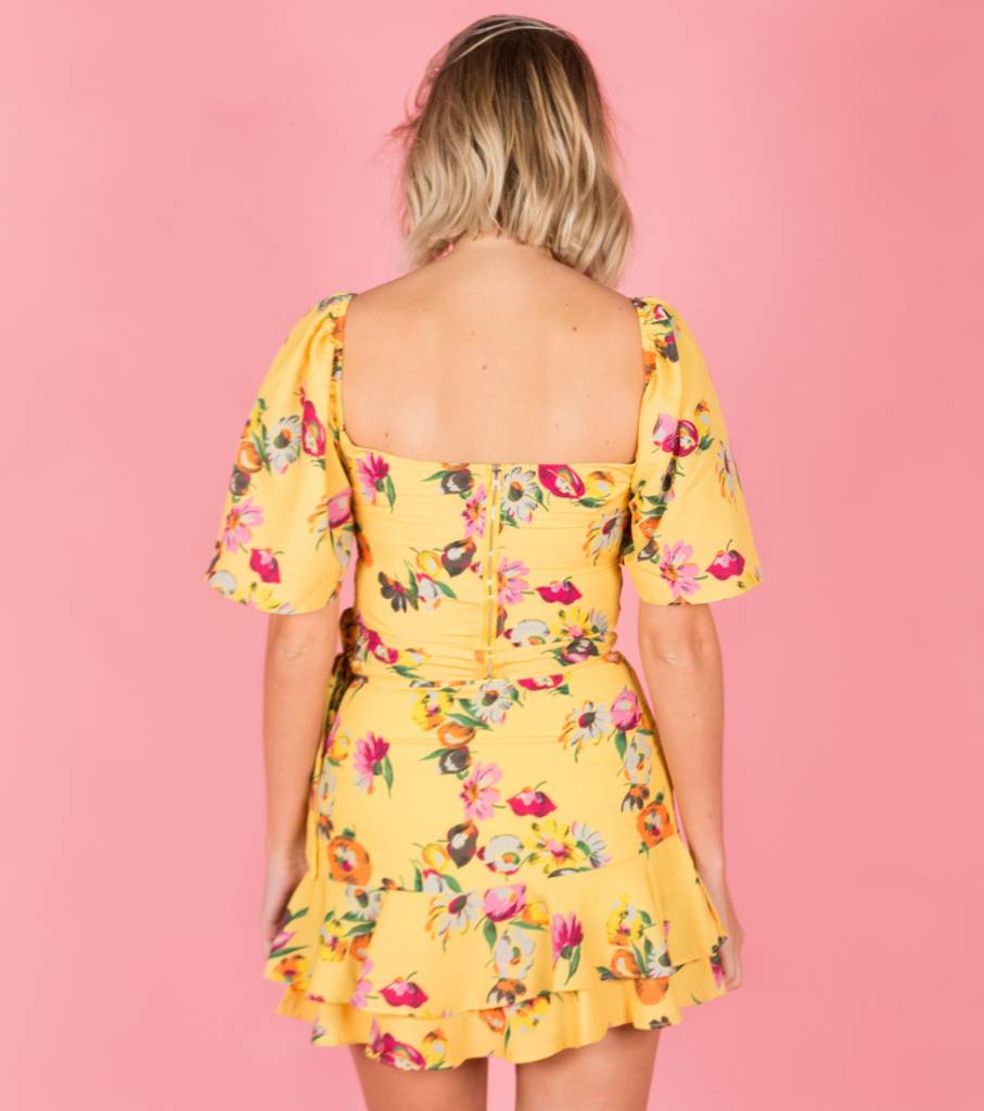 BRIGHT TROPICAL YELLOW BLOOM BLOUSE