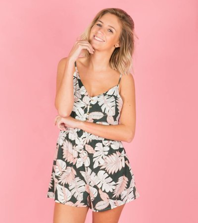 SOFT PINK GREEN LEAVES PLAYSUIT