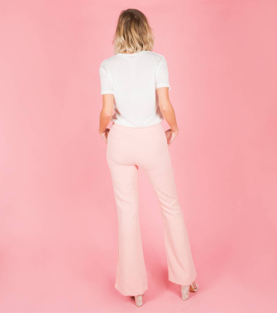 MEET ME PINK FLARED TROUSERS