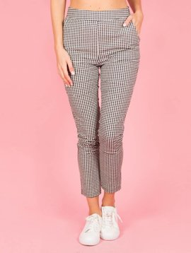 TIGHT CHECKED BLACK TROUSERS