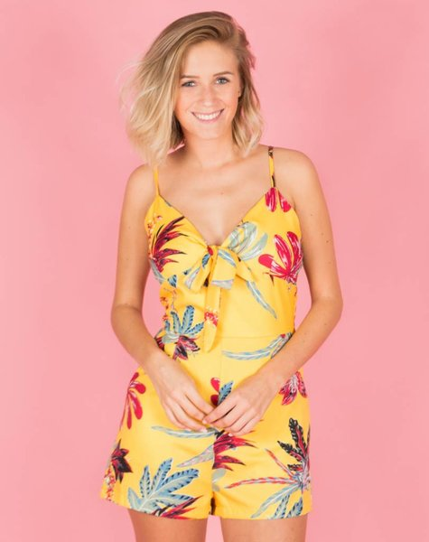 EXOTIC YELLOW WRAP PLAYSUIT