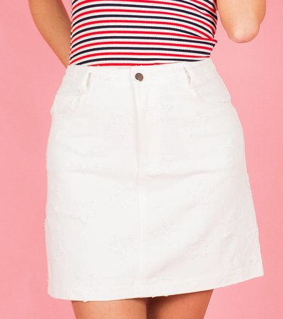 WHITE STAR JEANS SKIRT