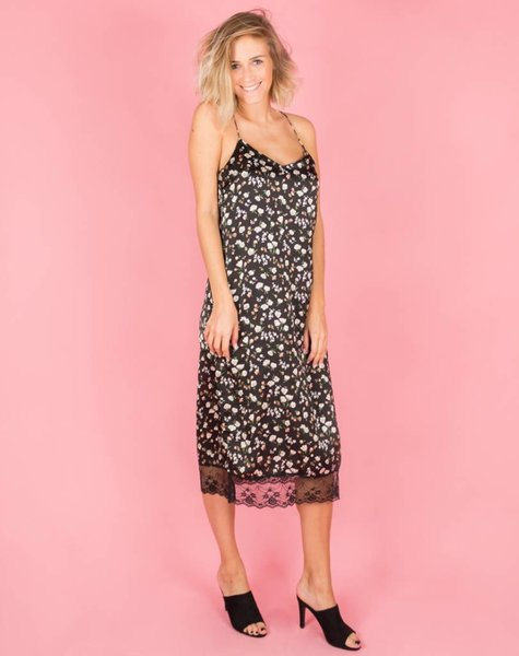 TO GO OUT BLACK FLOWER MIDIDRESS
