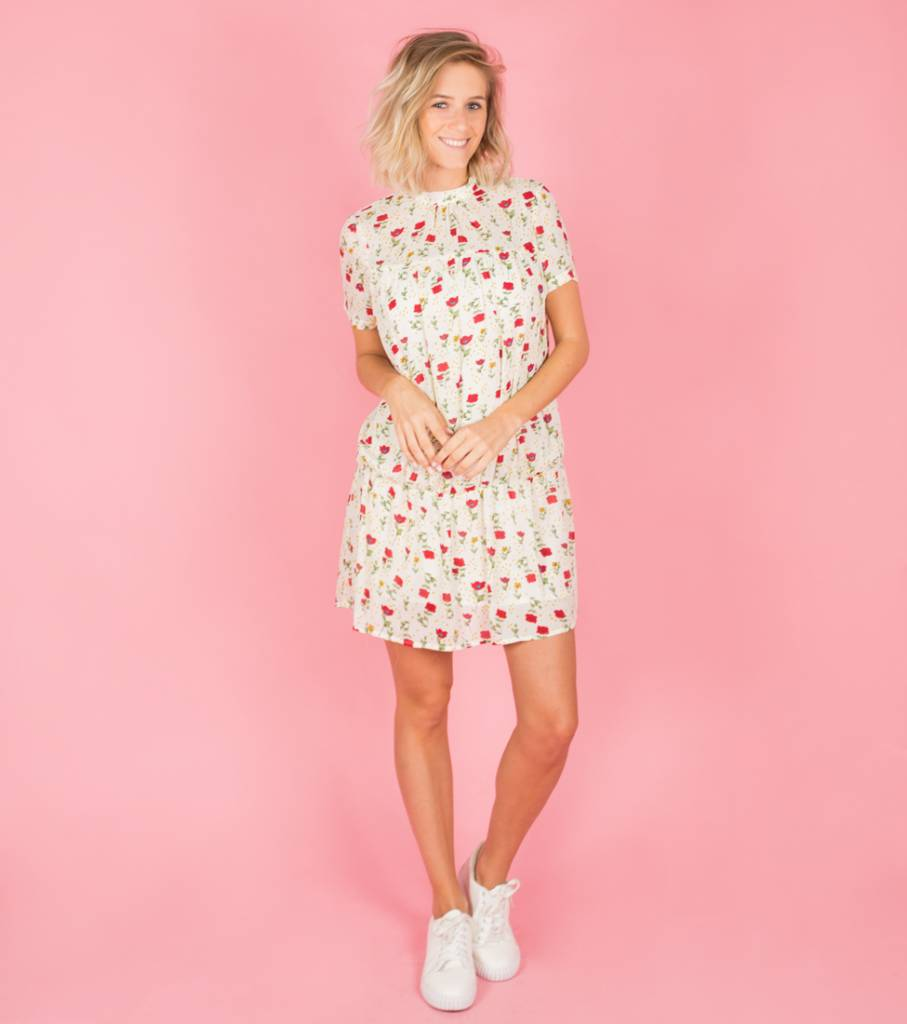 OFF WHITE RED FLOWERED DRESS