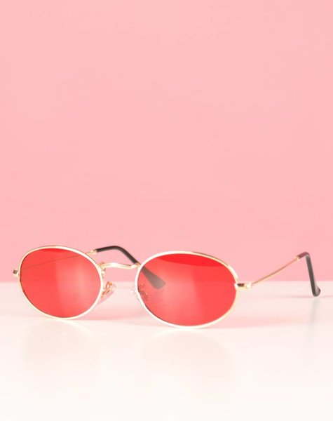 RED BEAUTY OVAL GLASSES