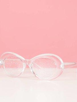 WHITE GLITTERBALL GLASSES