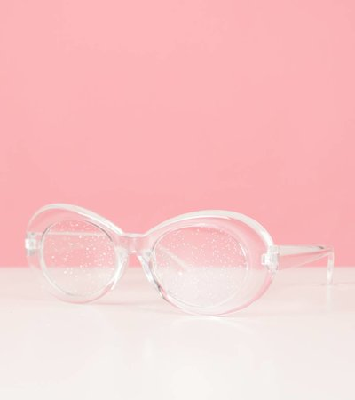 WHITE GLITTERBALL GLASSES