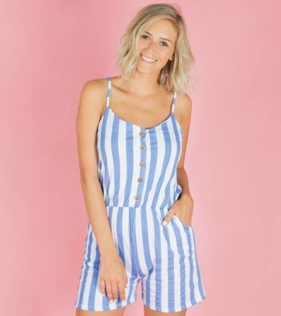 SUMMER IS FOR STRIPES PLAYSUIT BLUE