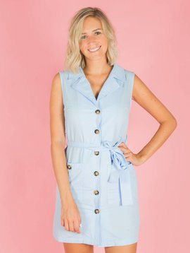 SOMETHING BLUE BUTTONED DRESS