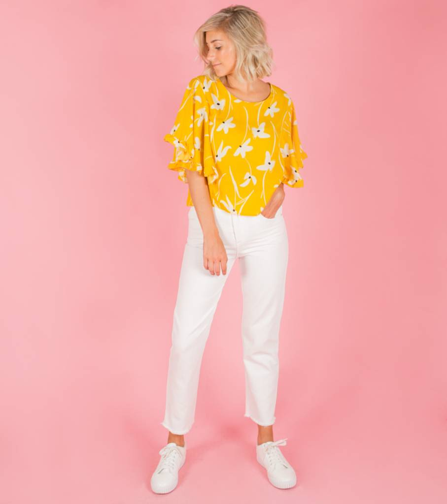 SUNNY YELLOW FLORAL BLOUSE