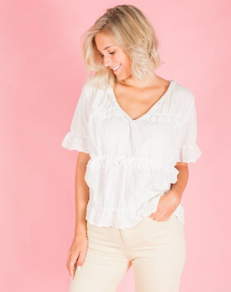 FRILLS AND BUTTONS BLOUSE