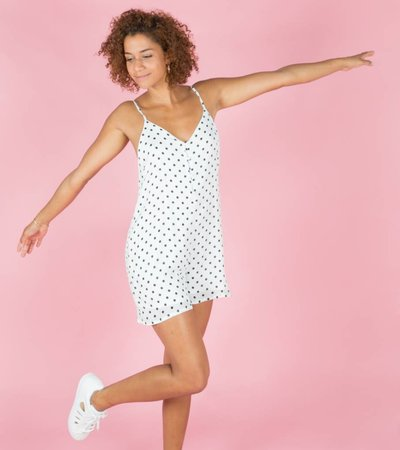POLKA DONT LIE PLAYSUIT WHITE