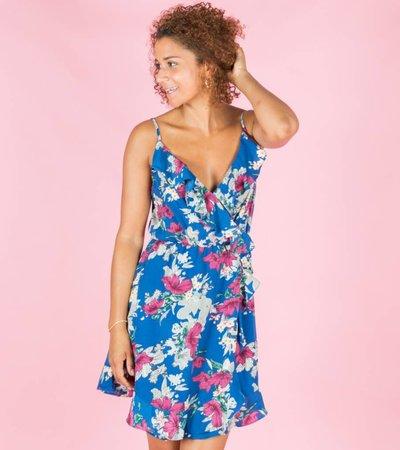STUNNING FRILL FLOWERS DRESS BLUE