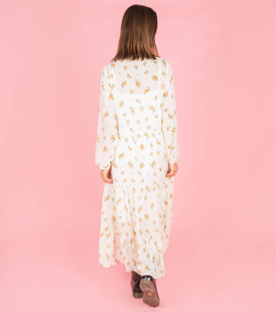 Crepe Flower Maxi Dress White