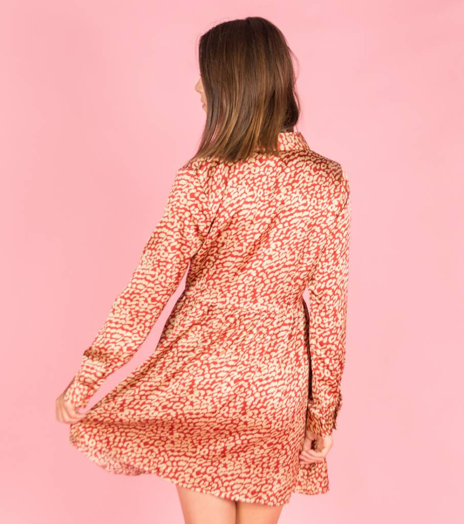 On the Spot Leopard Dress Red