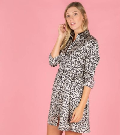 On The Spot Leopard Dress Black