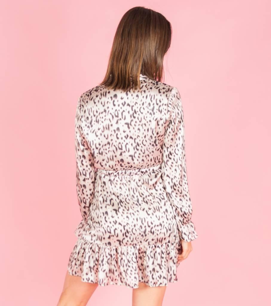 Silky Leopard Dress Beige