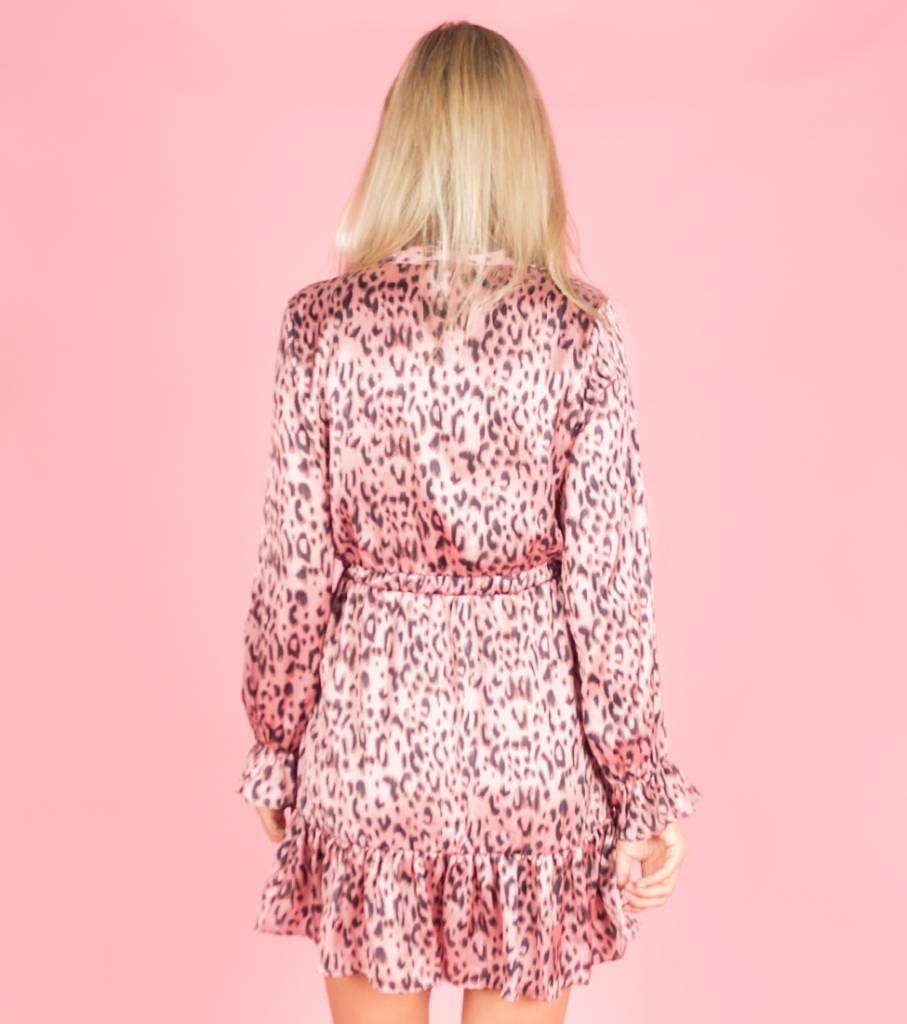 Silky Leopard Dress Pink