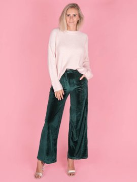 VELVET RIPPED PANTS GREEN