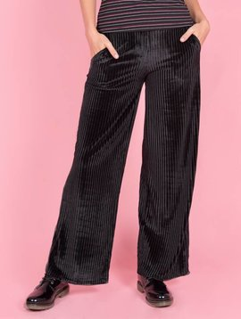 VELVET RIPPED PANTS BLACK