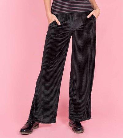 VELVET RIBBED PANTS BLACK
