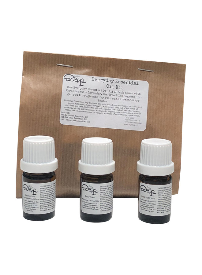 Essential Oil Kit: Lavender, Tea Tree, Lemongrass
