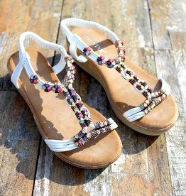 Jewel Sandals White