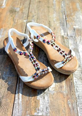 Jewel Sandals White