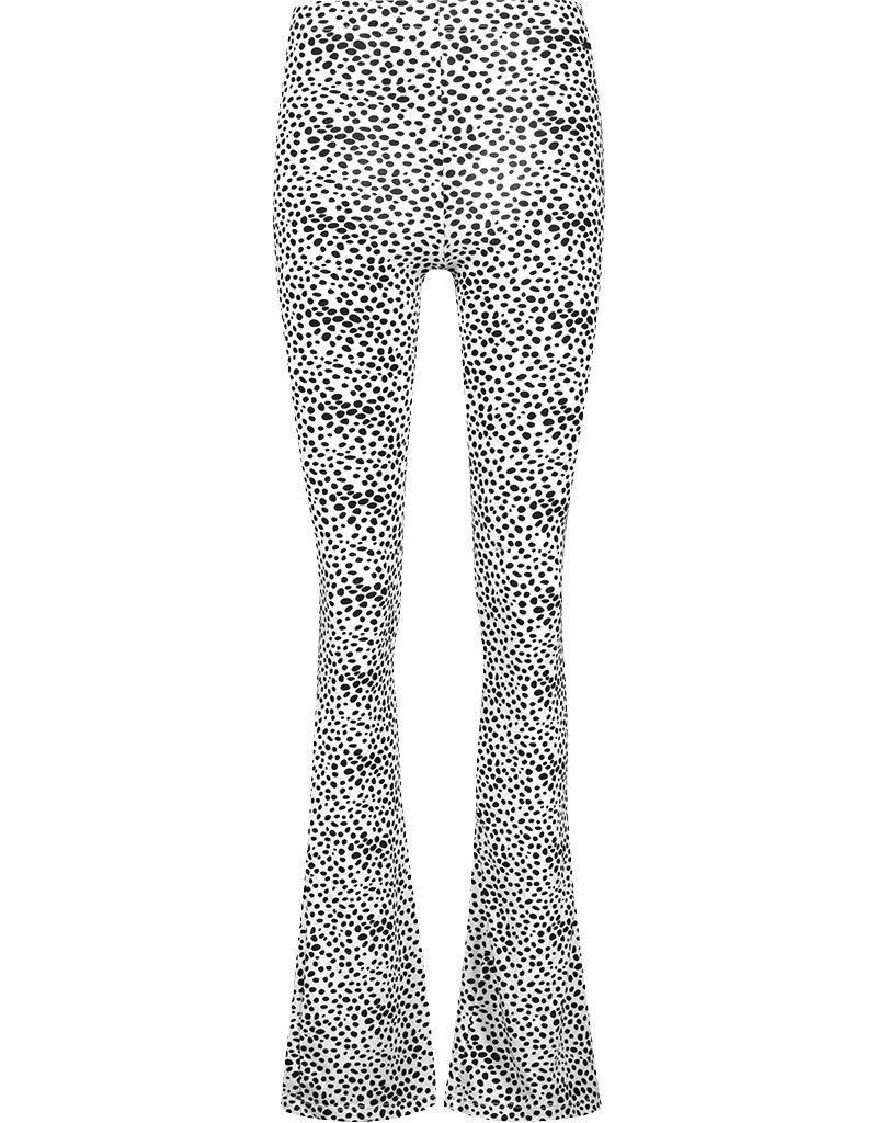 Flared broek wit/zwart