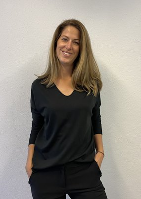 Basic V-hals shirt zwart