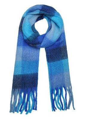 Blauwe sjaal franjes