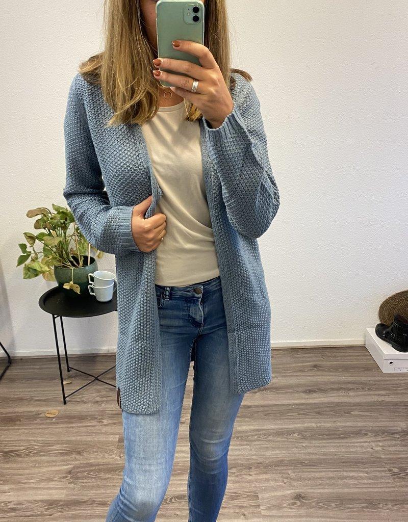 Lang vest grijs/blauw