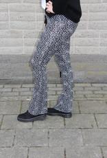 Flared broek zwart/wit