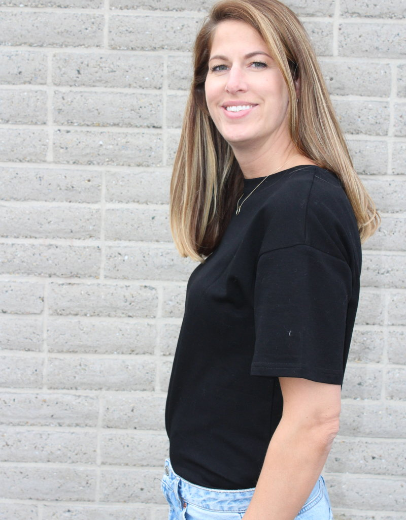 Zwart basic T-shirt | Pien