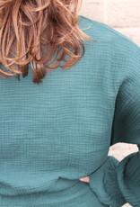 groen/blauwe overslag blouse | Milou