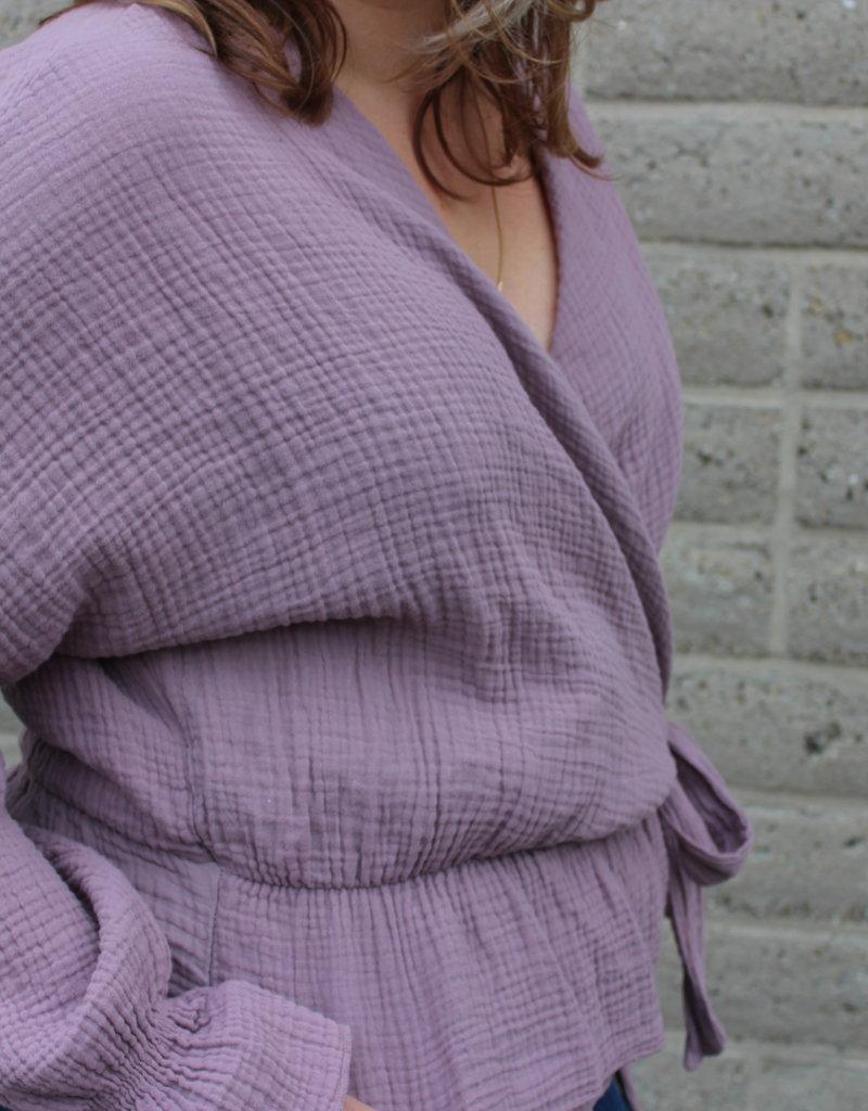 paarse overslag blouse | Milou