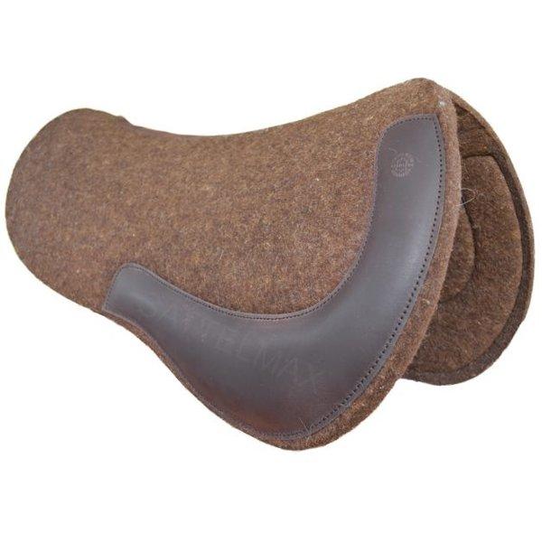 Horse Gear Allround Filzpad, rund, naturbraun, Lederbesatz dunkelbraun
