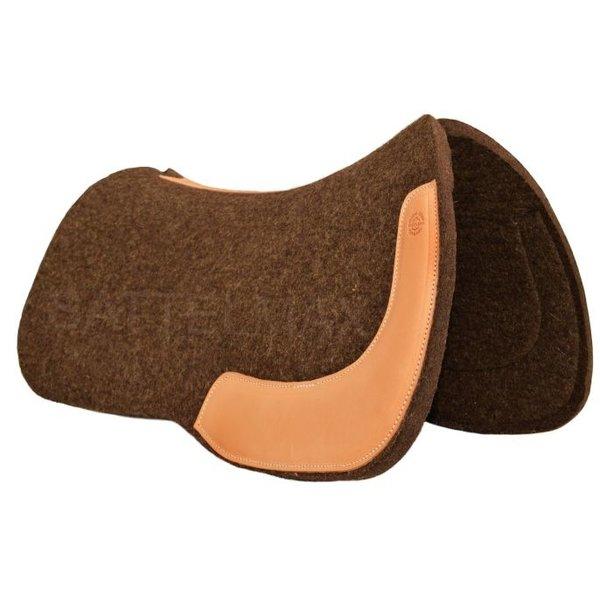 Horse Gear Horse Gear Allround Filz-Westernpad, eckig, naturbraun, Lederbesatz: natur