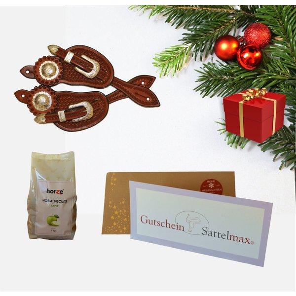 Sattelmax Geschenkpaket mit Sattelmax Gutschein über 50,00 € und Sporenriemen