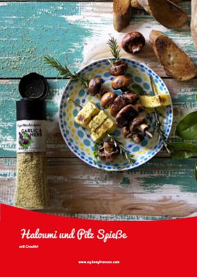 Haloumi und Pilz Spieße mit Crostini - Rezept