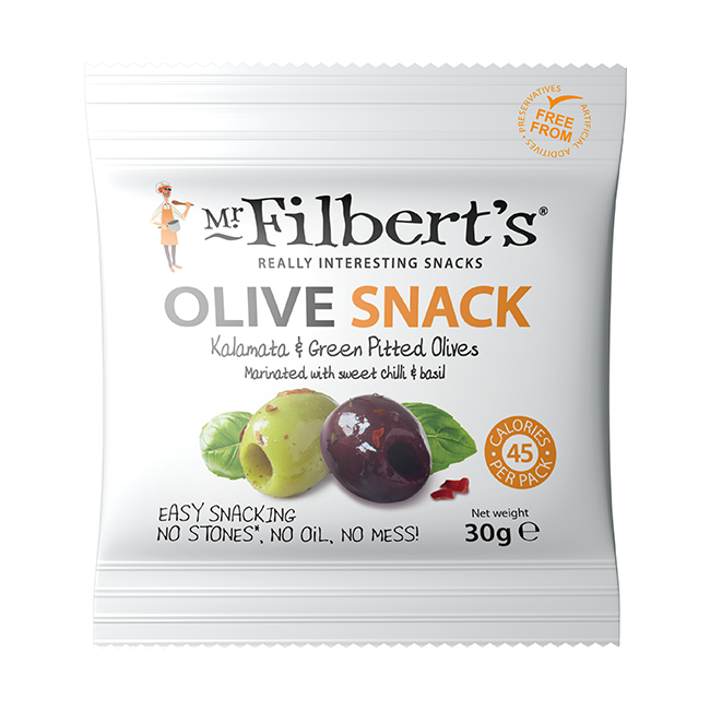 Mr. Filbert's Kalamata & Green Olives Sweet Chilli & Basil 30g